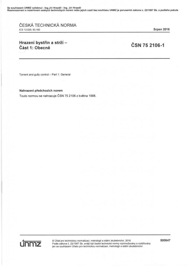 75 2106-1 - Hrazení bystřin a strží-část 1 - Obecně